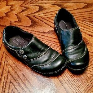 Clarks Black Slip on Shoes
